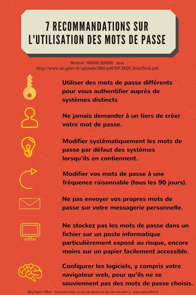 7 Recommandations sur l'utilisation des mots de passe