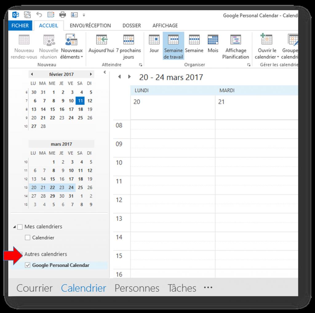 Gestion d'agenda avec Outlook 2016