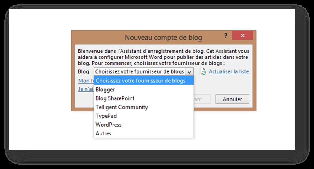 Sélectionner dans Word la plateforme de blog