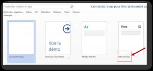 Sélectionner dans Word 2013 le modèle dédié aux articles de blog