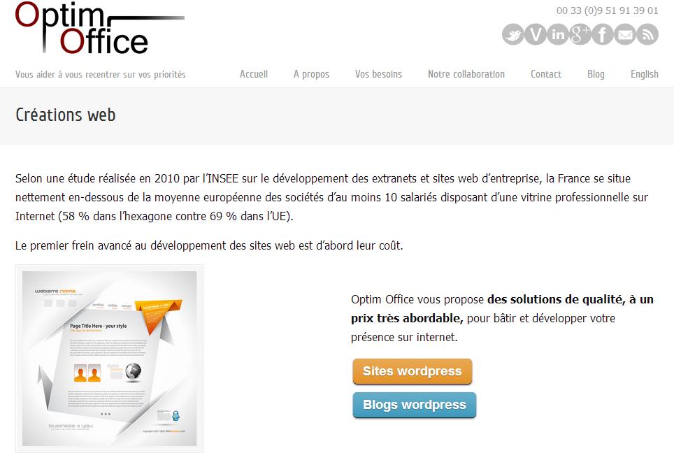 Optim Office : créations web