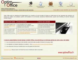 site web www.optimoffice.fr de 2010 en 2012 développé en php