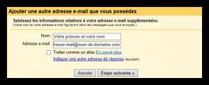 cliquer sur comptes pour ajouter une nouvelle adresse e-mail