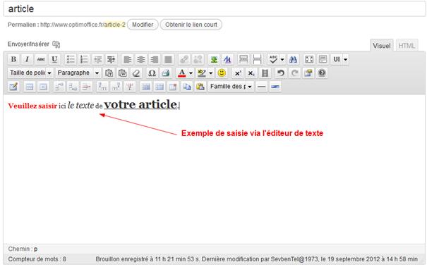 éditeur de texte intégré sur WordPress