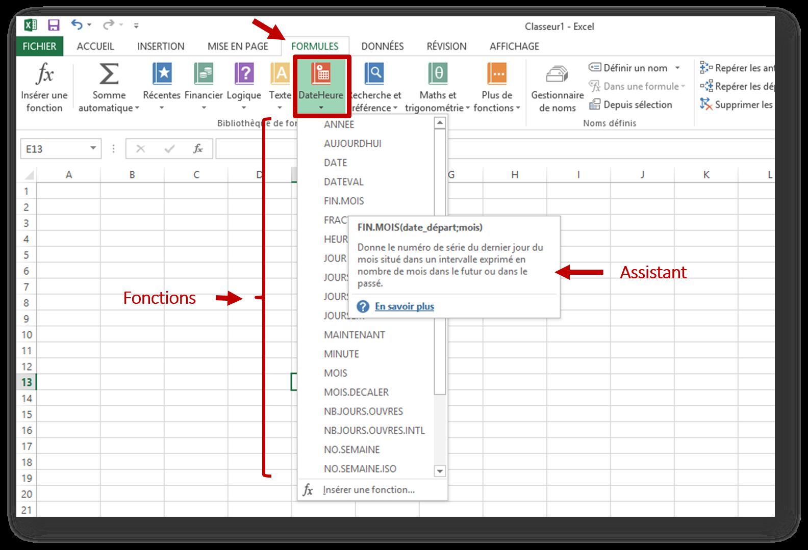 calcul de dates dans Excel : les fonctions spécifiques