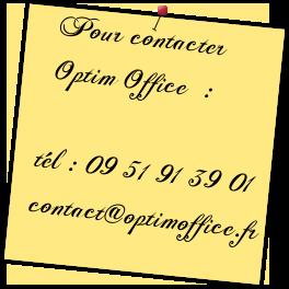Téléphone et email pour contacter Optim Office