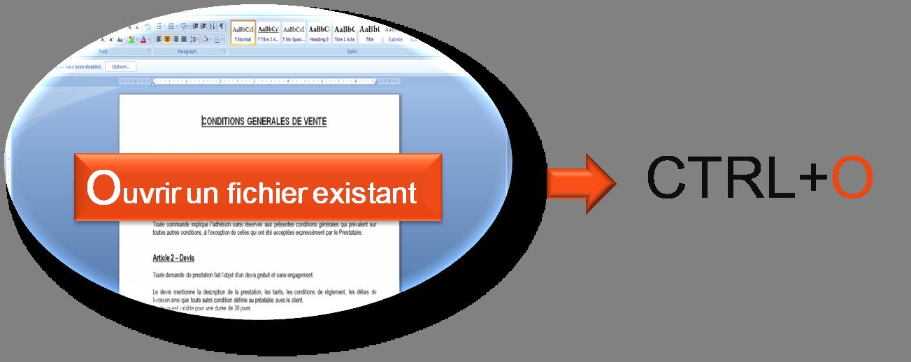 Utiliser CTRL+O pour ouvrir un fichier existant dans Word