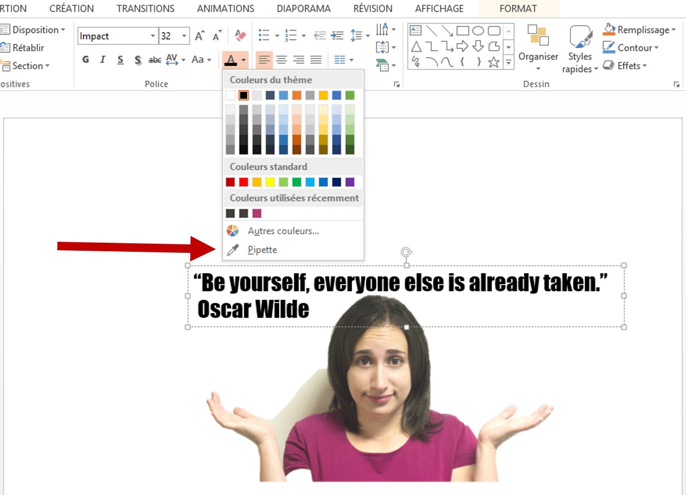 modifier la couleur d'un texte dans une diapositive Powerpoint