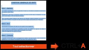 CTRL+A : raccourci clavier pour tout sélectionner