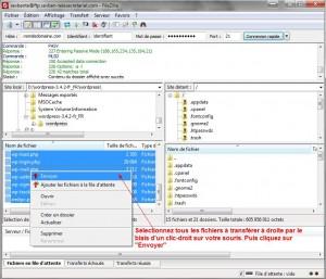 transfert de fichiers wordpress du disque dur d'un ordinateur vers un espace FTP d'hébergement